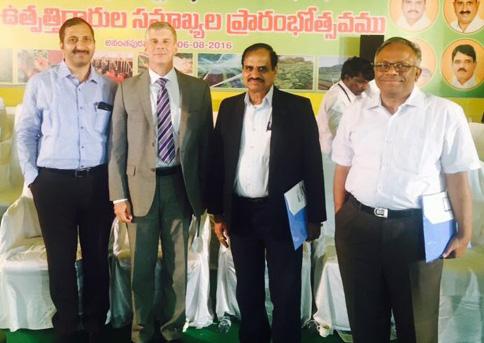 (L to R) Mr Chaudhary, Dr Bergvinson, Dr Wani and Mr T Vijaya Kumar.