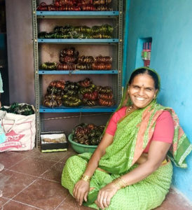 Kalavathi, a beneficiary of the watershed project, earns about Rs.5000 by selling bangles. Photo: D Anil/ SBMMAS